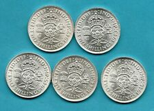 More details for 5 x king george vi florin silver coins 1942 - 1946 in high grade. job lot.