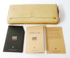 NWT FRYE Campus Rivet Zip Around Leather Wallet Banana Tan~$158