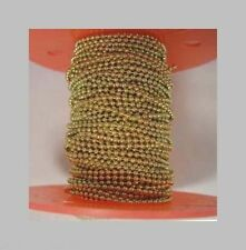 Brass Plated Steel BALL CHAIN 2.4mm Bead #3 ~ 100 feet on Spool +100 connectors