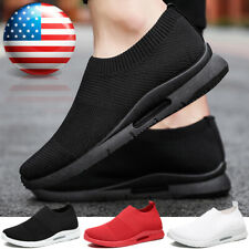 Men's Slip on Shoes Breathable Lightweight Tennis Sports Running Sneakers Gym Us