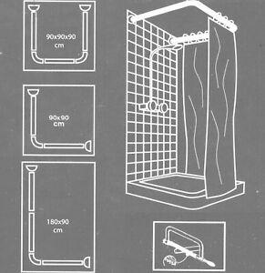 Weiß Winkel L&U Form Dusch Badewanne Stange Winkelstange Duschvorhangstange