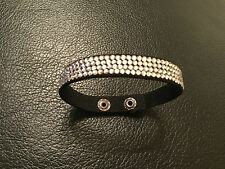 Brand New Button Strap Bracelet - Black & Silver - 2 Adjustment Sizes