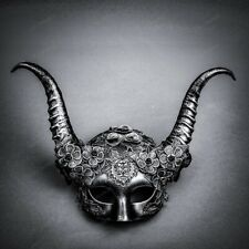 Silver Victorian Masquerade Mask w/ Horn Halloween Cosplay Party Wear For Women