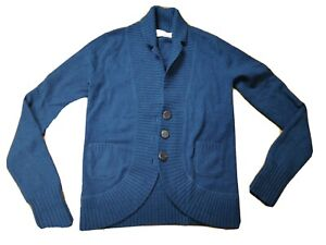 Allude Sz S Bluey Green Cashmere Warm Cardigan Buttons Pockets