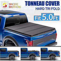 FOR 2019-2021 Ford Ranger 5.0FT TRUCK BED FRP HARD SOLID TRI-FOLD TONNEAU COVER