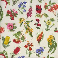 Australian Wildflowers on Cream Grevillea Wattle Banksia Quilting Fabric FQ or M