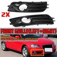 Pair Car Front Bumper Fog Light Grille Grill Cover For Audi A3 8P S-Line