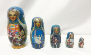 Vintage 5 Pieces Matryoshka Russian Fairy Tale Wooden Nesting Doll Blue Gold 6""