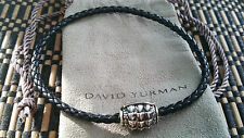 David Yurman - Silver & Black Leather with Alligator Magnetic Clasp Bracelet!