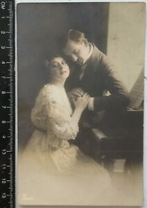 1900 Couple Woman Man Piano Antique GERMAN Romantic Photo Postcard RPPC Portrait