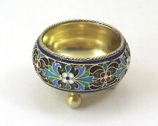 COUPELLE TRIPODE ARGENT MASSIF VERMEIL 84 RUSSIE EMAIL CLOISONNE MOSCOU 1892