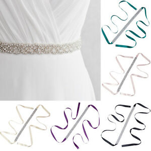 Vintage Ladies Rhinestone Wedding Dress Belt Waistband Bridal Beaded Sash Dress