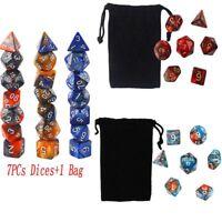 Gem Multi sided dice set of 7 D4 D6 D8 D10 D12 D20 Dungeons D&D RPG Role play