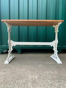 Antique Arts & Craft Cast Iron Table with Mahogany Top
