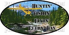 Outdoor sportsman bumper sticker. Aviation hunting fishing flying decal.