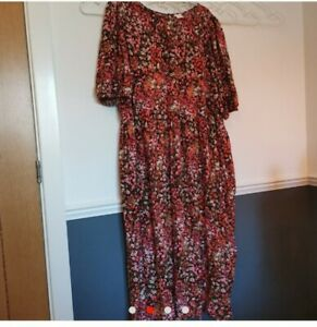 H&M Smock Midi Floral Ditsy Dress Plus Size XXL 22 24 26