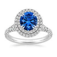 1.65 Ct Round Natural Blue Sapphire Diamond Engagement Ring 14K Real White Gold