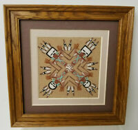Navajo Sand Painting Yei Bi Chei  Vintage Pro Frame 7 x 7 inches Signed Garcia