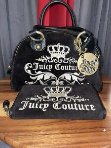JUICY COUTURE Black Velour Bowler Satchel Brass Royal Heart Charm & Wallet