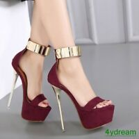 Womens Platform Ankle Strap Stiletto High Heels Sandals Open Toe Party Shoes