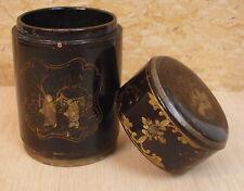 Ancien pot à tabac en bambou et laque de chine Bamboo tobacco pot lacquer china