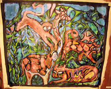 """""""JUNGLE ANIMALS FANTASTIC"""" by Ruth Freeman ACRYLIC ON UNSTRETCHED CANVAS 28""""X32"""""""