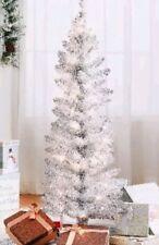 4' Ft. Pre-Lit [Silver Tinsel] Christmas/Hanukkah/Holida y/Xmas Tree. Metal Stand