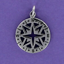 Compass Charm Sterling Silver 925 for Bracelet or Necklace Open Cut Direction