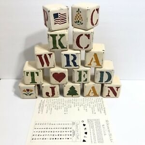 """Wolf Creek Set 16 All Seasons Wood Wooden Blocks Vtg 1987 Made in USA 2¾"""" Square"""