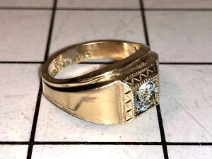 Vintage 14K RGP ESPO Mens Art Deco Estate Ring Size 9.75 Signed