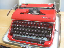 VINTAGE CUSTOM RED OLYMPIA TYPEWRITER WITH CASE WORKS GREAT