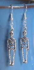 SKELETON earrings silver & .925  STERLING Silver Halloween Goth Handcrafted