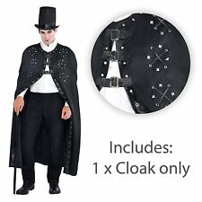 Mens Leather Look Studded Cloak Buckle Cape Reaper Dracula Halloween Vampire UK