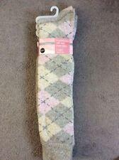Acrylic Argyle, Diamond Knee-High Socks for Women