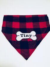 Dog Bandana, Red Buffalo Plaid, Dog Scarf, Dog Clothes Gift For New Puppy Groom