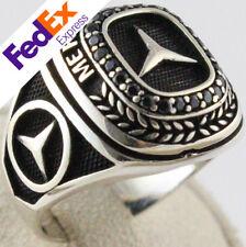 925 Sterling Silver Black CZ Mercedes BENZ Emblem Symbol Men's Ring All Sizes