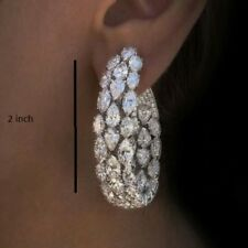 20 ct 2 inch Marquise & Pear Cut Diamond Solid 925 Sterling Silver Drop Earrings