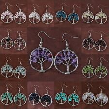 Natural Amethyst Rose Quartz Tourmaline Wrap Chakra Tree Of Life Stone Earring