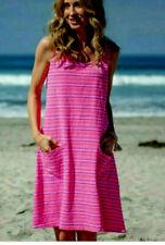 FRESH PRODUCE USA L NWT Flamingo Pink Promenade Stripe Drape Lounge Sun Dress