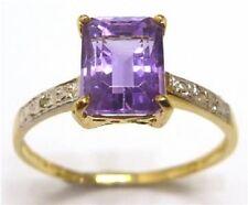 10KT GOLD 1.60 CARAT NATURAL AMETHYST & NATURAL DIAMOND RING
