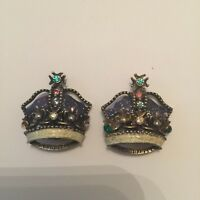 Vintage Ornate Rhinestone Crown Clip On Earrings