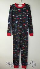 HANNA ANDERSSON Organic Long Johns Pajamas Navy Day Tripper Cars 150 12 NWT