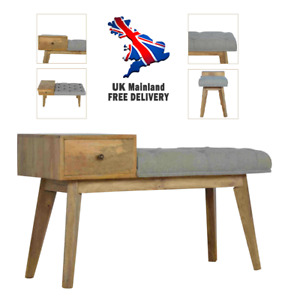 Telephone Bench 1 Draw Grey Wool Tweed Solid Wood Mid-Century Scandinavian Style