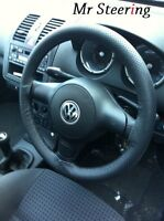 FOR VW POLO MK3 6N 6N2 BLACK PERFORATED LEATHER STEERING WHEEL COVER  94-02