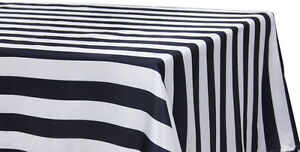 "BLACK & WHITE STRIPED SATIN TABLECLOTHS 60""x126"" CHARMEUSE PRINT SILK SALE USA*"