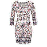 hübches Kleid Gr.40 L Jerseykleid Stretch SHIRTKLEID weiß geblümt Paisley Muster