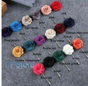 Men Rose Flower lapel pin, Handmade Brooch Boutonniere Suit Lapel Wedding Party