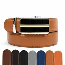 Men's Leather Ratchet Belt with Golden Apex Automatic Buckle (MGLBB10)