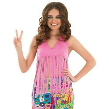 WOMANS PINK 60/70S HIPPIE FRINGED TOP FANCY DRESS HEN PARTY COSTUME