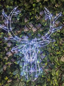 70cm LIGHT UP REINDEER /STAG HEAD WALL MOUNT 120 LED DECORATION INDOOR&OUT LIGHT